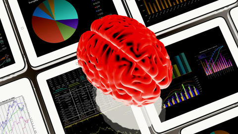 4k rotating brain & Mobile devices,finance pie charts & stock trend in the ipad Live Action