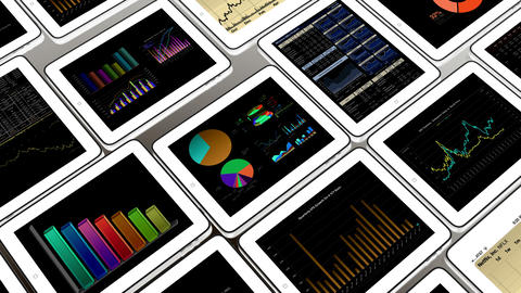 4k Mobile devices,finance pie charts & stock trend diagrams in the ipad Footage