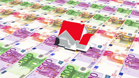 4k rotate house on the eur background,business investment,real-estate Footage