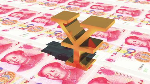 4k golden RMB symbol on 100 RMB bills background,business investment Footage