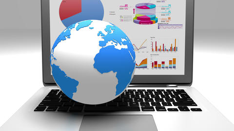 4k rotate earth model on the laptop,finance pie charts & stock trend diagrams Live Action