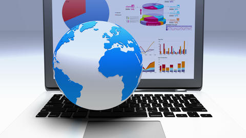 4k rotate earth model on the laptop,finance pie charts & stock trend diagrams Footage