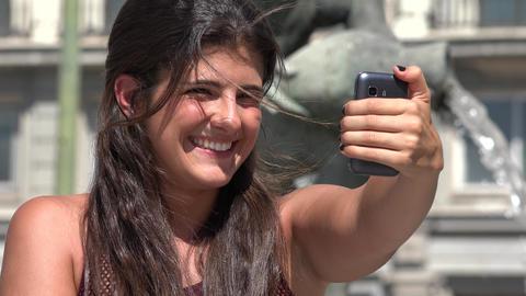 Woman Having Fun Taking Selfies Live Action
