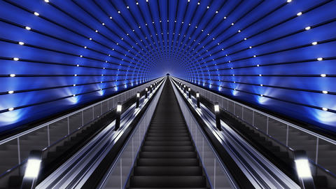 Moving up on a futuristic escalator Animation