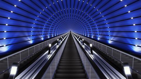 Moving up on a futuristic escalator Footage