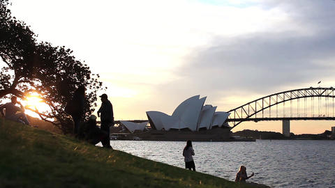Australia, Sydney, OperaHouse, Mrs Macquarie Point, Sunset Footage