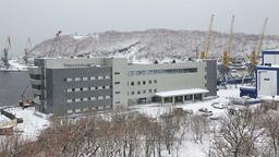 Marine Station in sea port Petropavlovsk-Kamchatsky on Kamchatka Footage