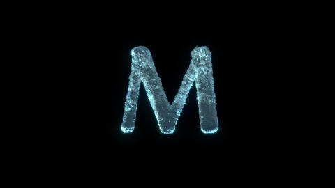 The Letter M Of Ice Isolated On Black With Alpha Matte Animation