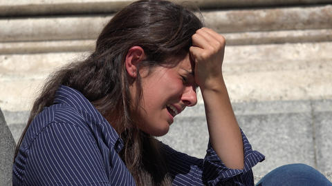 Crying Woman With Anguish And Pain Footage