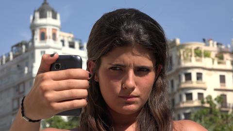 Woman Taking Selfy Fun Travel Photos Live Action