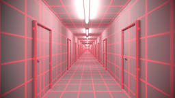 Endless white corridor doors neon tron 80s arcade glow loop wireframe matrix 4K Footage