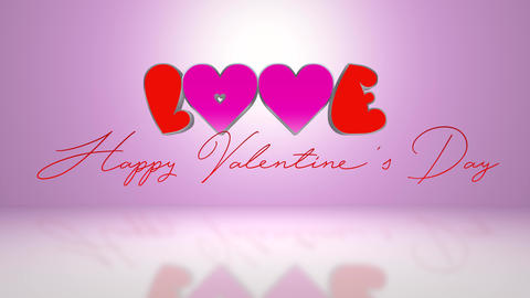 Love And Happy Valentines Day Text - 4K Footage