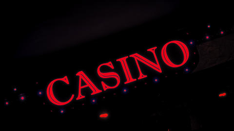 4K Red Casino Sign With Flashing Lights at Entrance to Casino Glows in Dark Live Action
