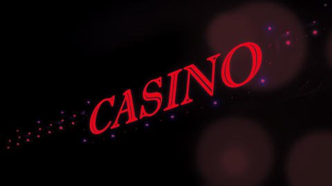 4K Red Casino Sign With Flashing Lights at Entrance to Casino Glows in Dark Footage