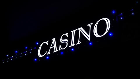 4K Blue Casino Sign With Flashing Lights at Entrance to Casino Glows in The Live Action