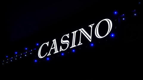 4K Blue Casino Sign With Flashing Lights at Entrance to… Stock Video Footage