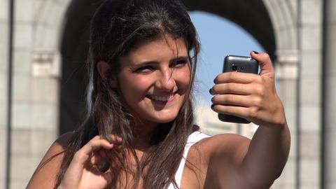 Female Tourist Travel Selfie Live Action