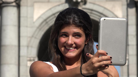 Woman Selfie With Tablet On Vacation Live Action