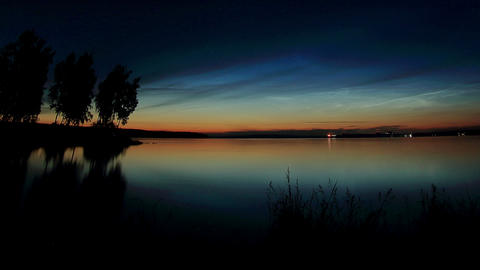 Sunset, night and sunrise over Beloyarsk reservoir. Beloyarsk, Sverdlovsk region Footage