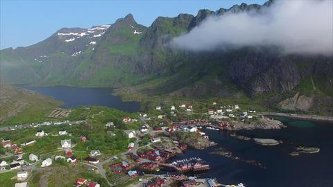Flying above Lofoten islands in Norway Footage