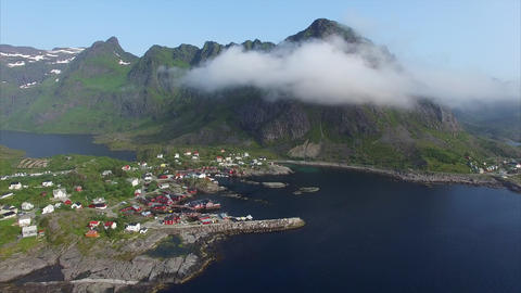 Fishing village on Lofoten, aerial view Footage