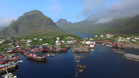 Flying above fishing village on Lofoten islands Footage
