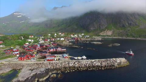 Fishing port on Lofoten islands in Norway Footage