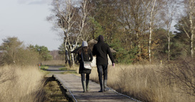 Happy Young Couple Walking Bat Bridge Nature stock footage