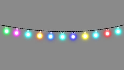 Festive Garland Lights Alpha HD Animation