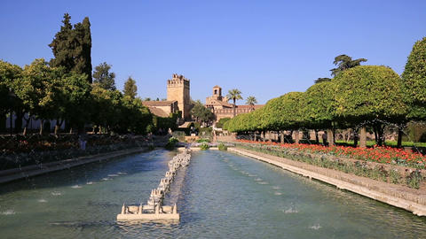 Alcazar palace gardens and fountains in Cordoba, Andalusia Spain Footage