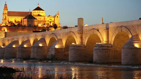 Cordoba, Spain cityscape at the Roman Bridge and Mosque-Cathedral Footage