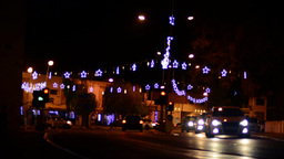 Street at night in Paphos with Christmas-decoration, timelapse Footage