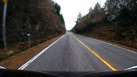 Bonnet view. Car go running down the downhill Footage
