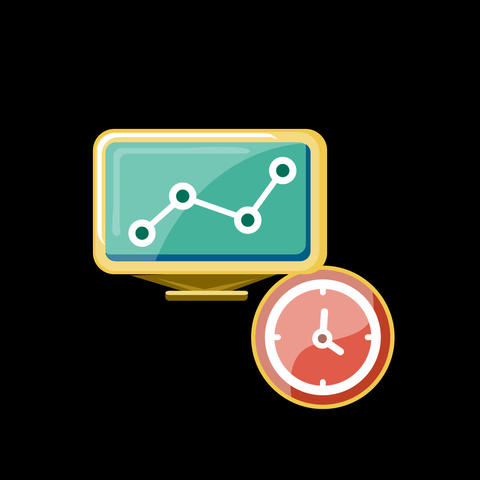 Computer Time Flat Icon Animation