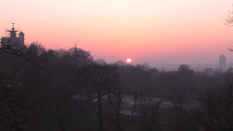 Time lapse. Beautiful sunset in the city park Footage