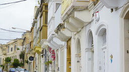 Close up of balconies. Maltese architecture in St.... Stock Video Footage