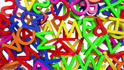 Letters alphabet characters fill screen transition capital type font book abc 4k Footage
