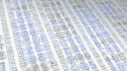 Data stream blue numbers white screen Animation