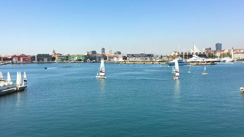 Timelapse Of People Boat Ride In Valencia Marina Real Footage
