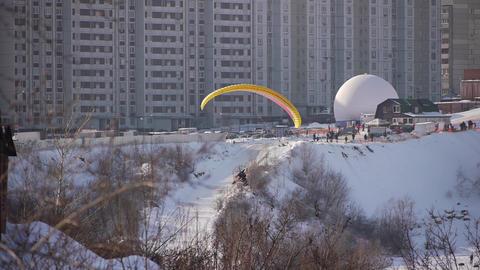 Motor Paraglider in Sky, Winter Flight Live Action