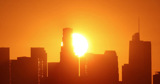 Sun Rising From Behind Downtown Los Angeles Live Action