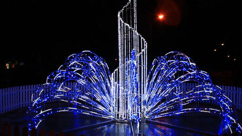 beautiful blue lights in the New Year holidays in the night Footage