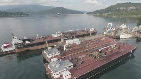 Aerial view of Tugboat shipyard Filmmaterial
