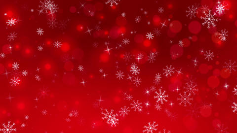 Red Winter Snowflakes Background Animation