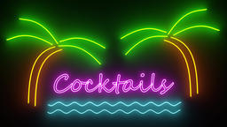 Cocktails neon sign lights logo text glowing disco bar cocktail 4k Live Action