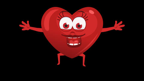 Cartoon Heart with Animated Face. 8th Pose Happy. Alpha Channel Animation