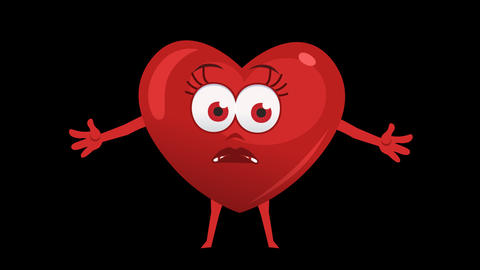 Cartoon Heart with Animated Face. 3rd Pose Not Know. Alpha Channel Animation