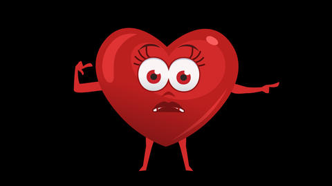 Cartoon Heart with Animated Face. 10th Pose Pointer Bad Right. Alpha Channel CG動画素材