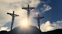 Crosses on a hill crucifixion cross jesus christ christian religion church bible Footage