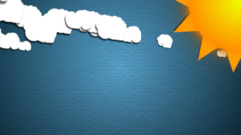 Simple cartoon clouds and sun. Fun background. Seamless loop Animation